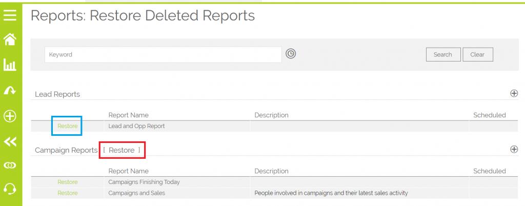 Restore Deleted Report